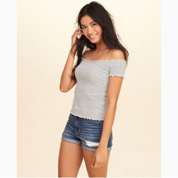 93430417d31b8 Hollister Tops - White Stripe Ribbed Slim Off-The-Shoulder Top